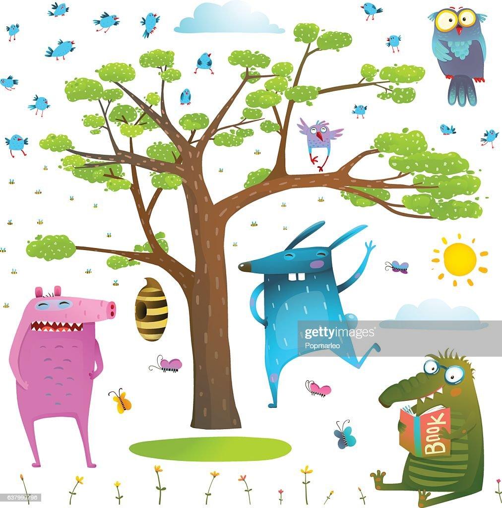 Animals tree sky sun and birds clip art collection.