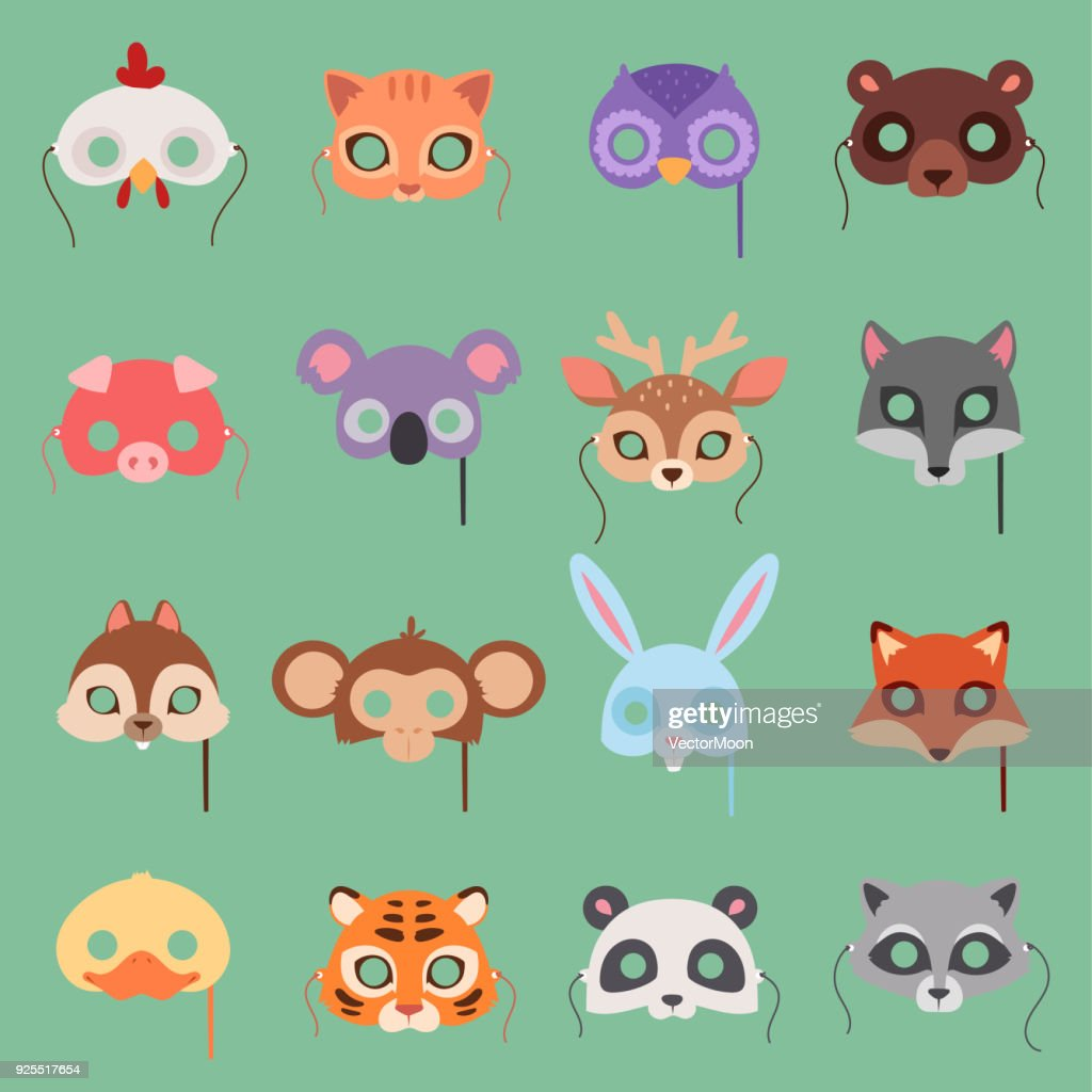 Animals vector carnival kids mask set festival decoration masquerade. Party costume cute cartoon animals face head carnival mask. Festival head decoration celebration animals masquerade isolated