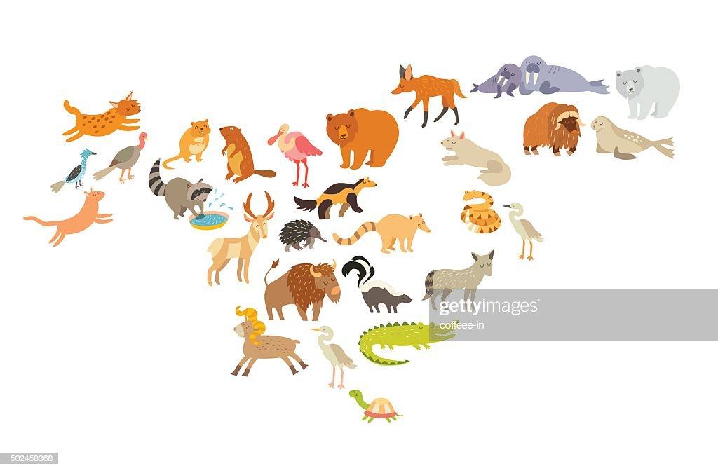 Animals world map, North America. Colorful cartoon vector illustration