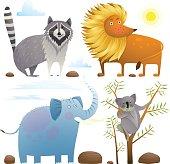 Animals zoo clip art collection lion elephant raccoon koala design set