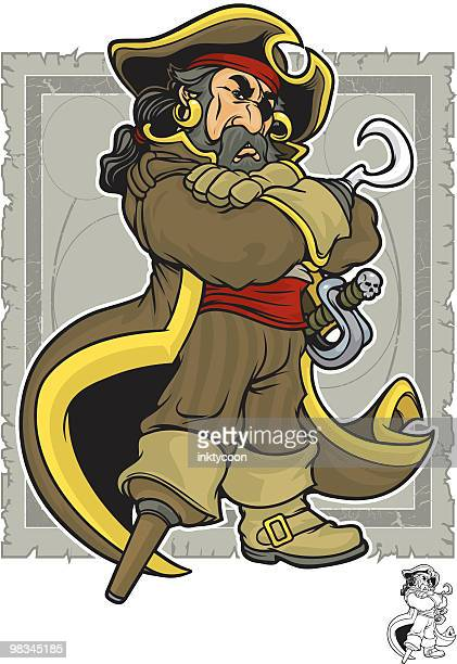 Animated cartoon peg leg pirate captain