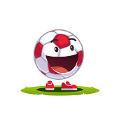 Animated cartoon soccer ball emoticon smiley supporter fan character. Football with a big smile on a face concept. Flat style vector clipart