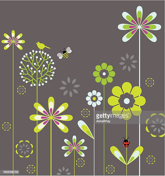 a animated flower garden background - bumblebee stock illustrations, clip art, cartoons, & icons