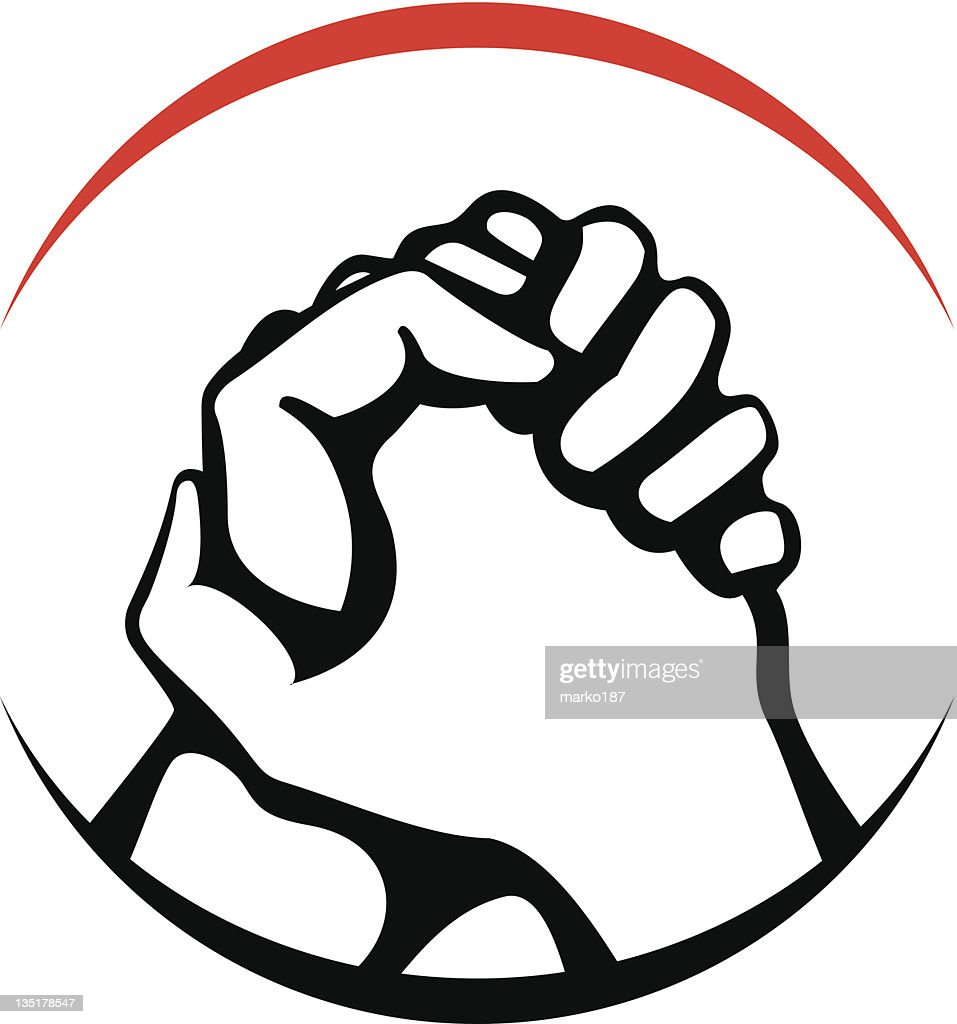 Animated hands clasping in victory