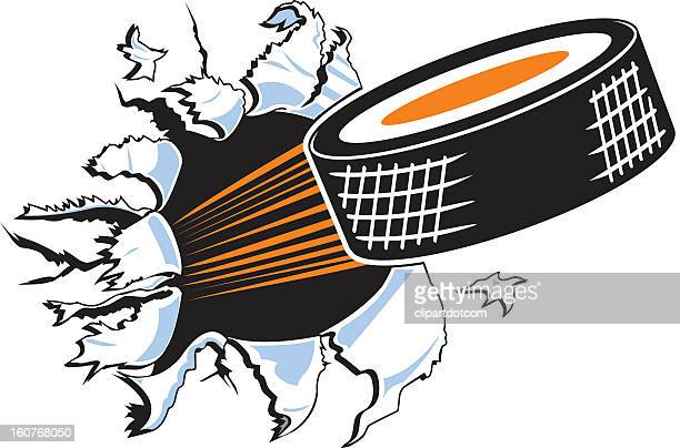 animated hockey puck ripping through a white background - hockey stock illustrations, clip art, cartoons, & icons