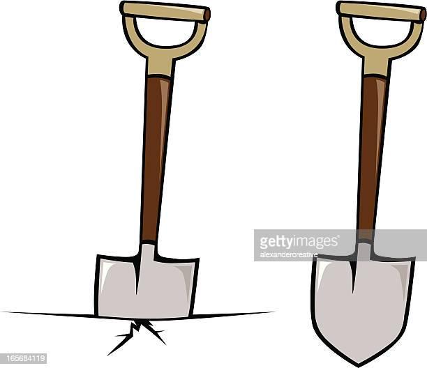 Animated illustration of a shovel breaking ground
