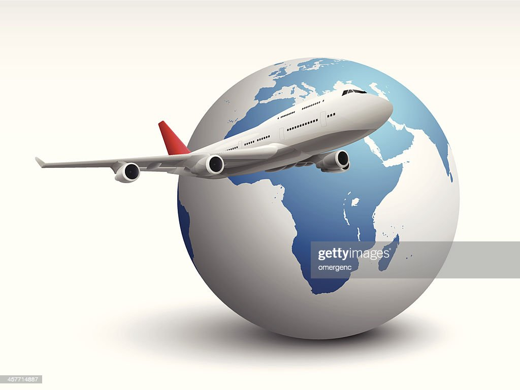 Animated plane flying across the world : stock illustration