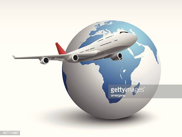 animated plane flying across the world - aeroplane stock illustrations