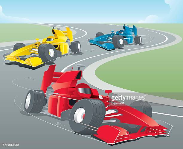 animated sports cars racing around a bend - race car stock illustrations, clip art, cartoons, & icons