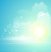 Animated summer background displaying the sun over the ocean