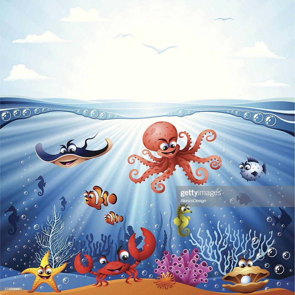 Animated Underwater Scene With Sea Life stock vector ...