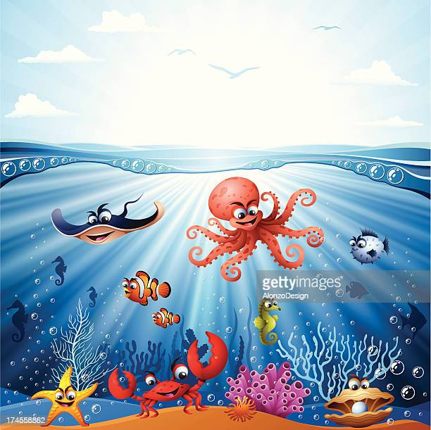 Ocean floor stock illustrations and cartoons getty images animated underwater scene with sea life voltagebd Gallery