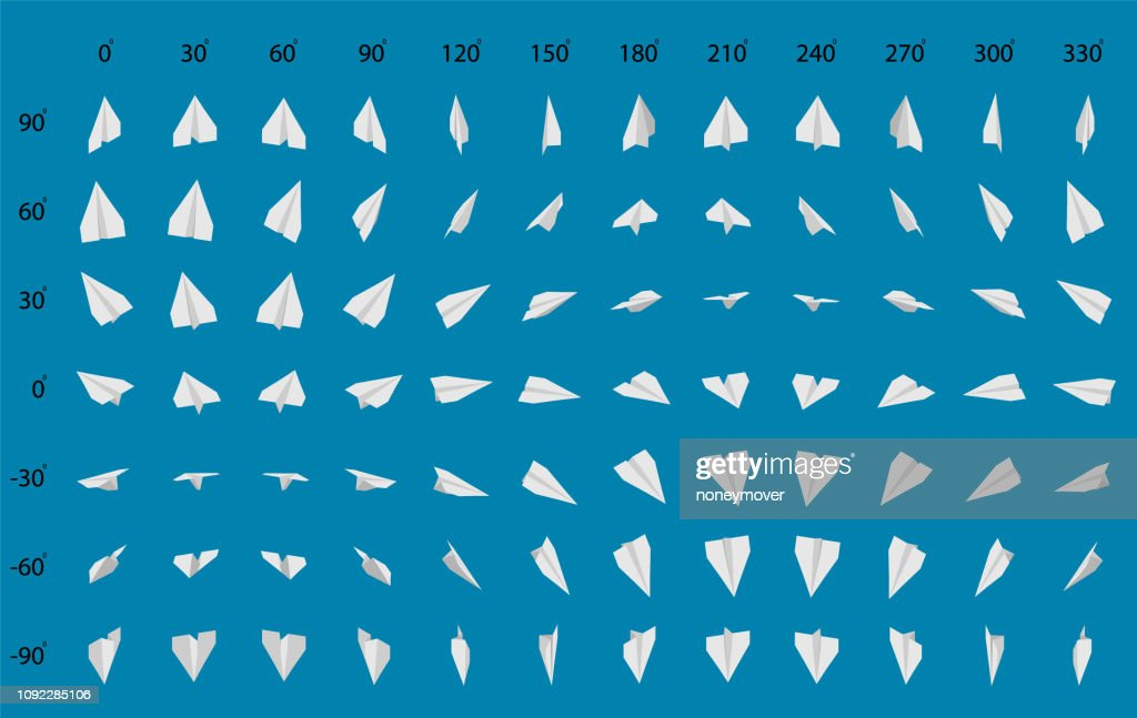 Animation of the rotation of a paper airplane.