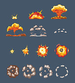 Animation scenes, effect smoke, explosion, fire clouds, broken into elements