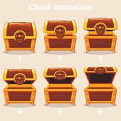 Animation step by step open and closed wooden chest