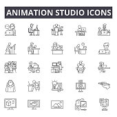 Animation studio line icons, signs set, vector. Animation studio outline concept, illustration: animation,studio,video,defilm,camera,flat,digital
