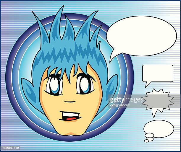 anime boy character - only japanese stock illustrations, clip art, cartoons, & icons