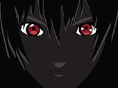 Anime eyes. Red eyes on black background. Anime face from cartoon. Vector illustration