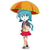 Anime Girl Holding Umbrella Illustration