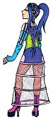 Anime manga bright cyber freak girl cartoon vector