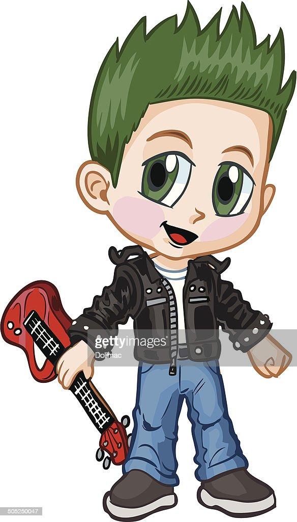 Anime Punk Rocker Boy Vector Cartoon