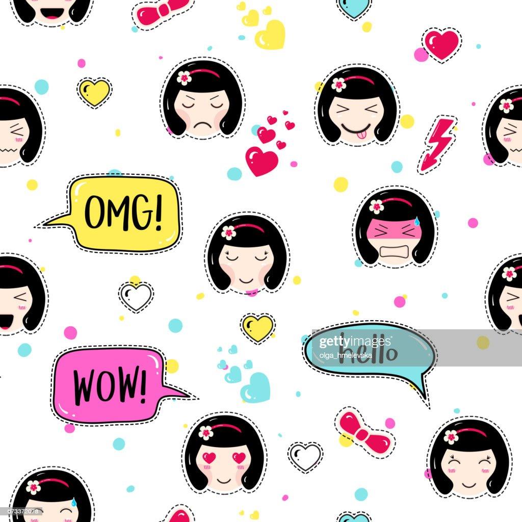 Anime style seamless pattern. Cute emoji girls.