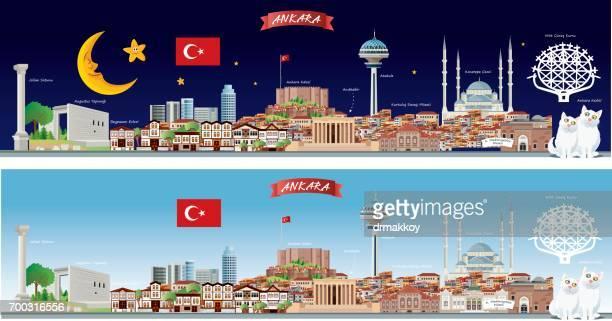 ankara skyline - ankara turkey stock illustrations