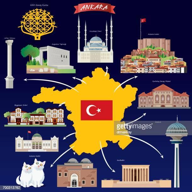 ankara travels - ankara turkey stock illustrations