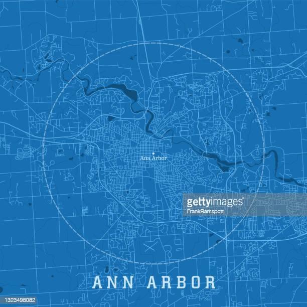 ann arbor mi city vector road map blue text - ann arbor stock illustrations