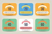 Anniversary 10th, 20th, 30th, 40th, 50th, 60th color cards.