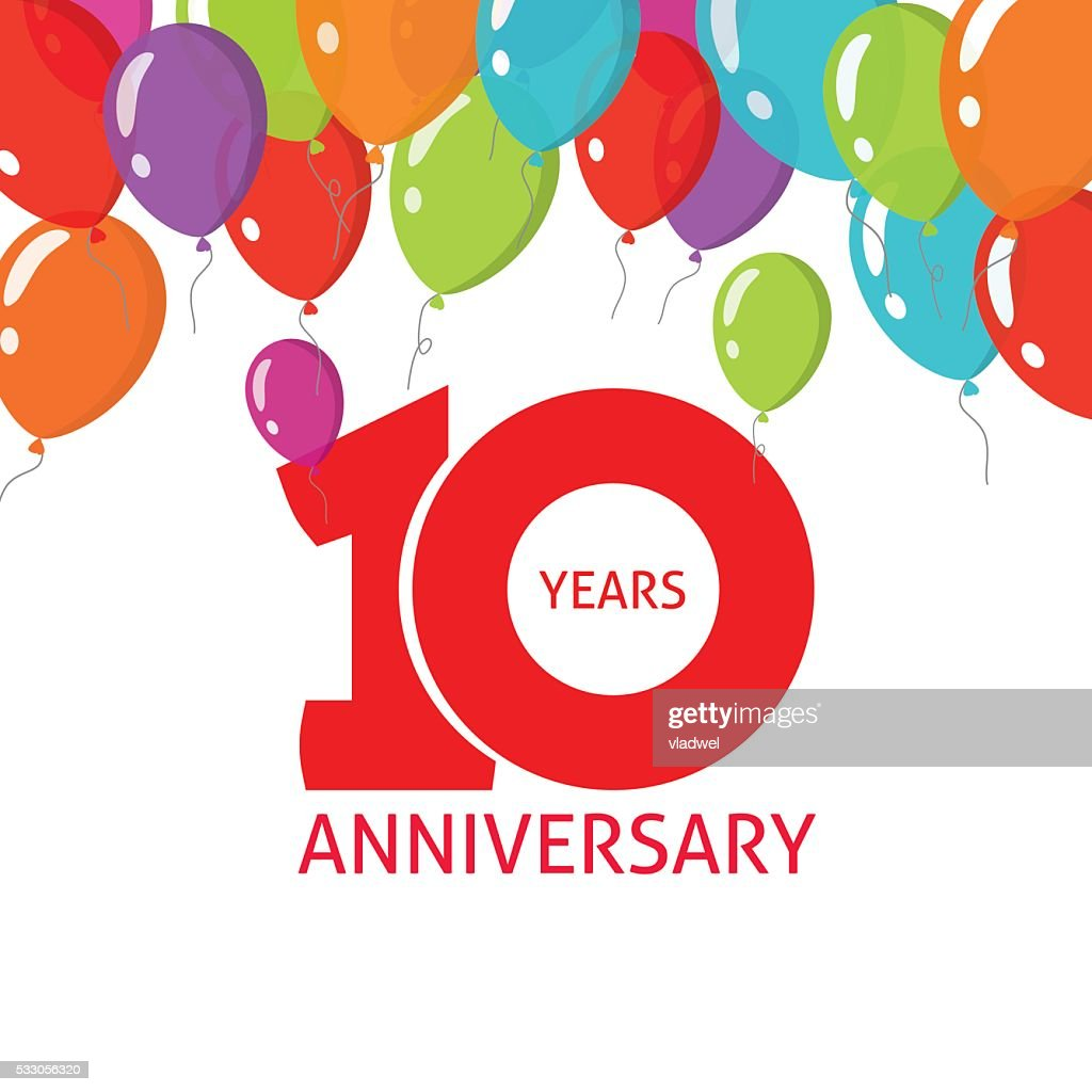 Anniversary 10th balloons poster, 10 years banner design