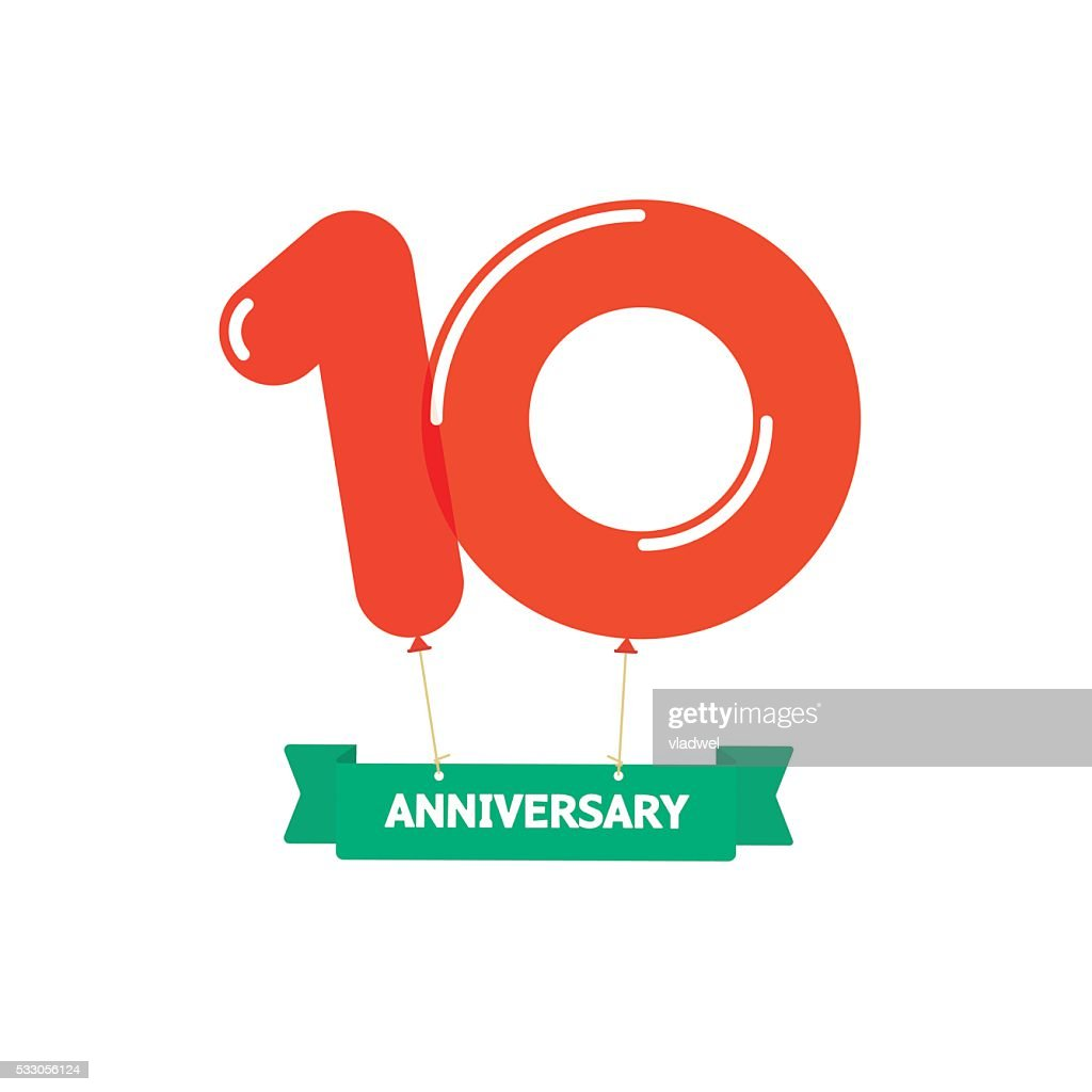 Anniversary 10th balloons poster red label. 10 years birthday