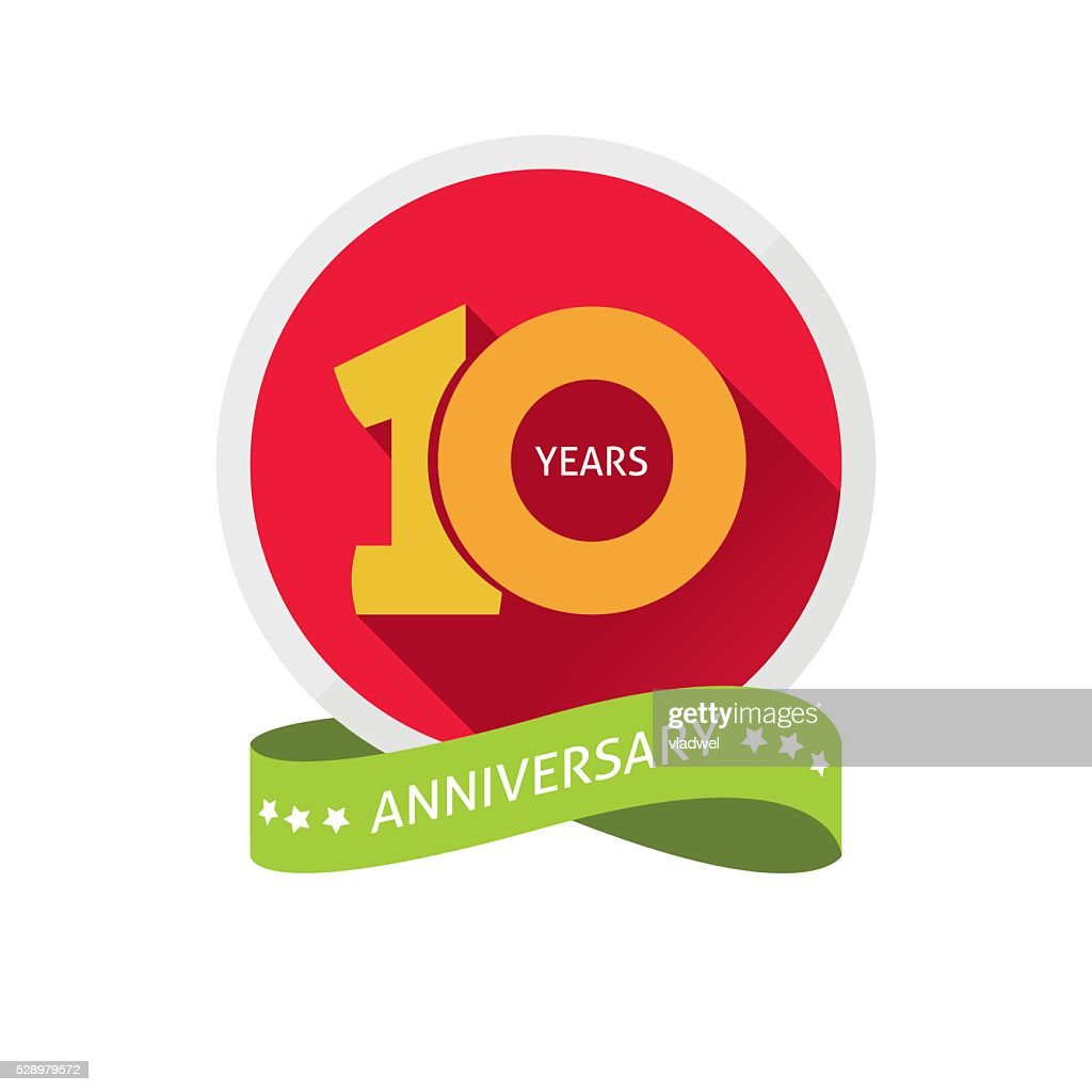 Anniversary 10th label with shadow on circle and number 1
