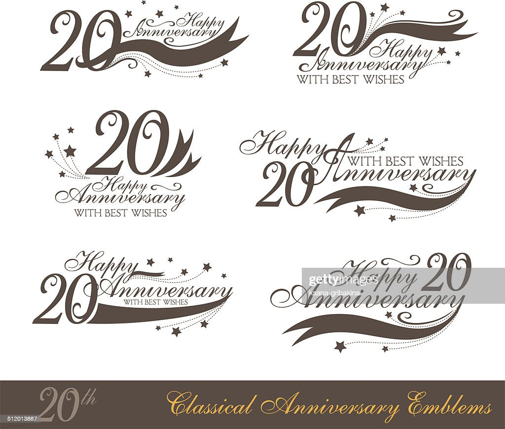 Anniversary 20th sign collection in classic style.