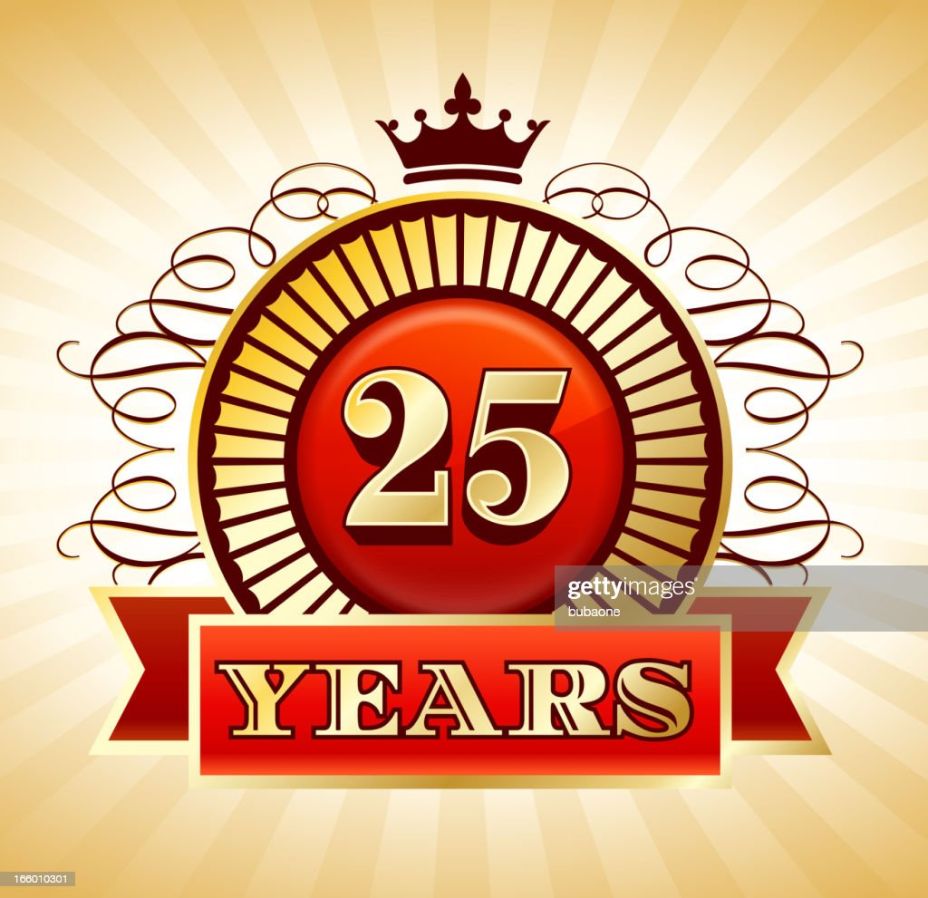 Anniversary 25 Years Badges Red and Gold Collection Background : stock illustration