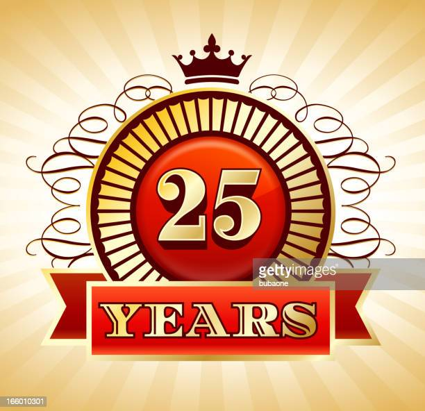 Anniversary 25 Years Badges Red and Gold Collection Background