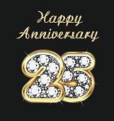 Anniversary 25th years birthday in gold and diamonds vector