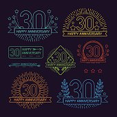 Anniversary 30th signs collection in outline style