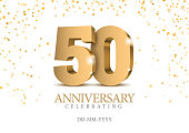 Anniversary 50. gold 3d numbers.