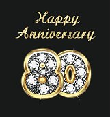 Anniversary 80th years birthday in gold and diamonds vector