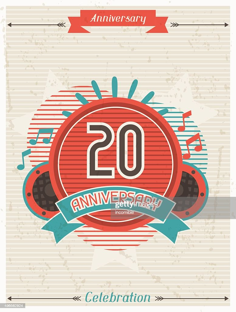 Anniversary abstract background with ribbon and decorative elements