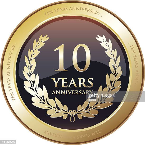 stockillustraties, clipart, cartoons en iconen met anniversary award - ten years - 10 11 jaar