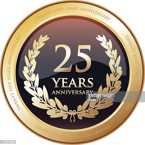 stockillustraties, clipart, cartoons en iconen met anniversary award - twenty five years - 25 29 jaar