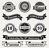 Anniversary Badge Collection black and white royalty-free vector icon set