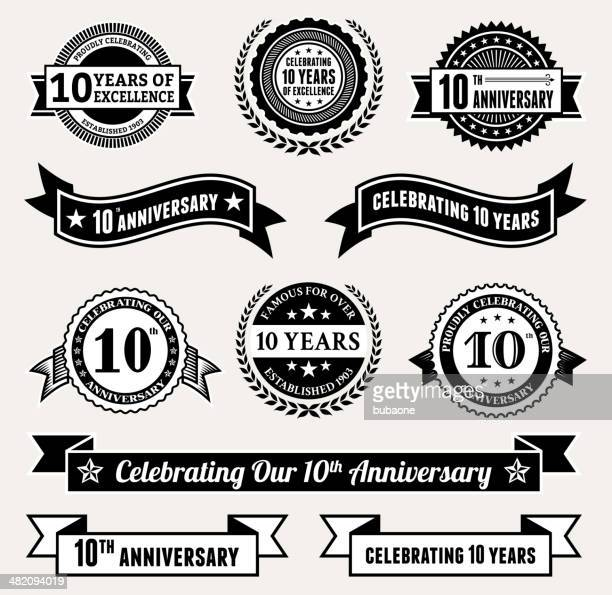 stockillustraties, clipart, cartoons en iconen met anniversary badge collection black and white royalty-free vector icon set - 10 11 jaar