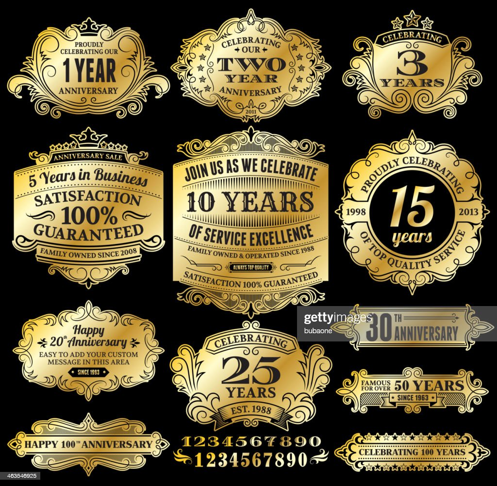 Anniversary Badges and Banners Set : stock illustration