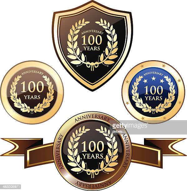 anniversary badges - hundred years - 100th anniversary stock illustrations