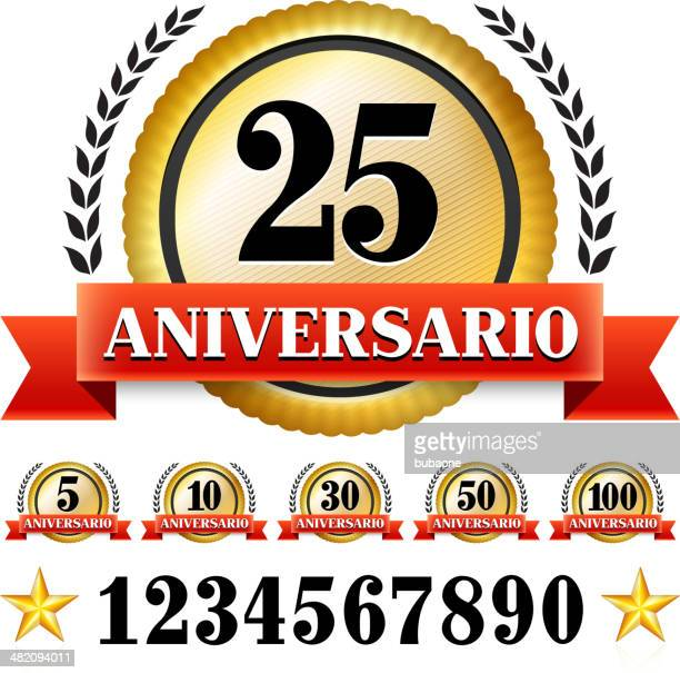 anniversary badges in spanish - 75th anniversary stock illustrations, clip art, cartoons, & icons