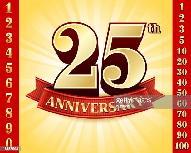 Emblemas de aniversário vermelho e ouro fundo de recolha