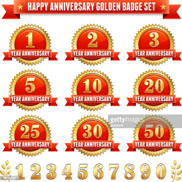 anniversary badges red and gold royalty free vector graphic - 20 24 years stock illustrations